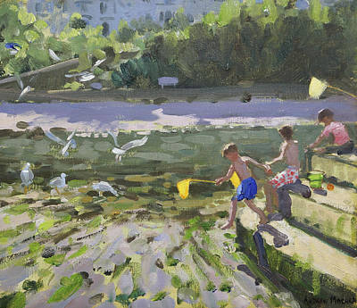 Kids And Seagulls Poster by Andrew Macara