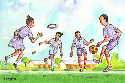Kids At Play Poster by Anthony Mwangi