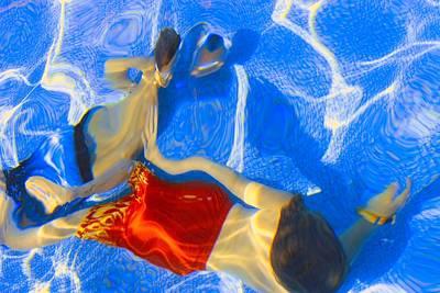 Kids Swimming Underwater Poster