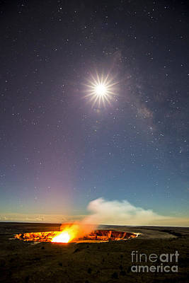 Kilauea Under The Milky Way Poster