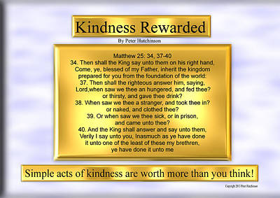 Kindness Rewarded Poster by Bible Verse Pictures