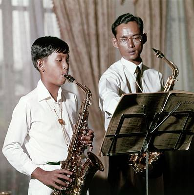 King Bhumibol And Prince Vajirlongkorn Playing Poster