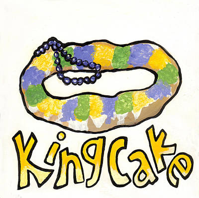 King Cake Poster by Elaine Hodges