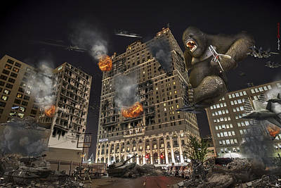 Poster featuring the photograph King Kong In Detroit Westin Hotel by Nicholas  Grunas