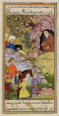 King Visiting A Sage In A Cave Poster by British Library