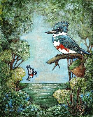 Poster featuring the painting Kingfishers Cove by VLee Watson