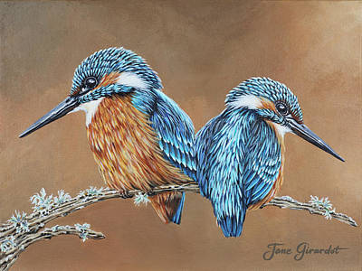 Poster featuring the painting Kingfishers by Jane Girardot