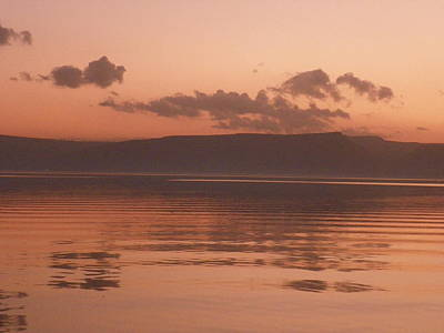 Kinneret Ripples At Dusk Poster by Noreen HaCohen