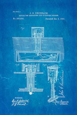 Kirchbaum Burial Life Detector Patent Art 1882 Blueprint Poster by Ian Monk