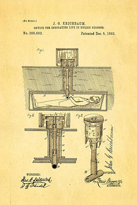 Kirchbaum Burial Life Detector Patent Art 1882 Poster by Ian Monk