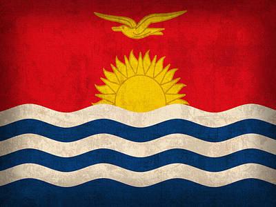 Kiribati Flag Vintage Distressed Finish Poster by Design Turnpike