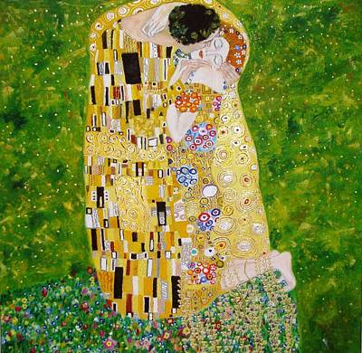 Poster featuring the painting Kiss G.klimt by Nina Mitkova