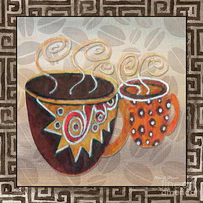 Kitchen Cuisine Hot Cuppa Latte V2by Romi And Megan Poster by Megan Duncanson