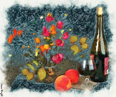 Kitchen - Peaches And Wine Painting  Poster