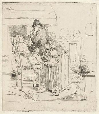 Kitchen Scene With Children, Louis Bernard Coclers Poster