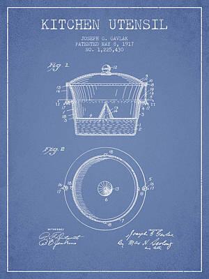 Kitchen Utensil Patent From 1917 - Light Blue Poster