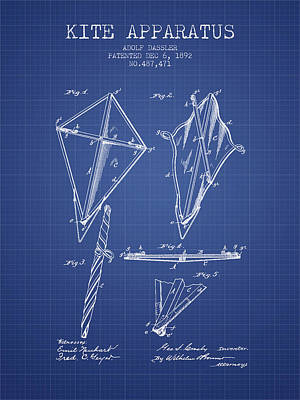 Kite Apparatus Patent From 1892 - Blueprint Poster by Aged Pixel