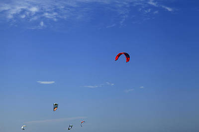 Kite Board Canopies And Blue Sky Poster