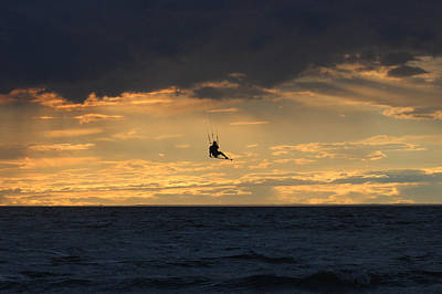 Kite Boarding West Meadow Beach New York Poster by Bob Savage