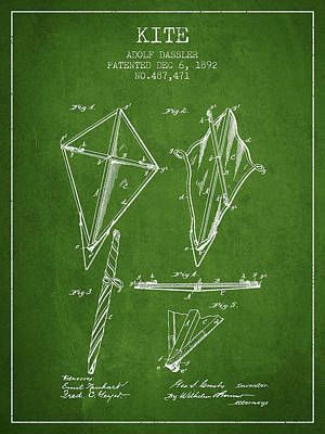 Kite Patent From 1892 - Green Poster by Aged Pixel