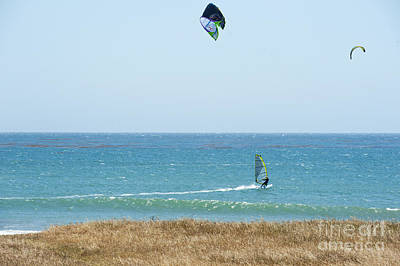 Kite Surfing And Wind Surfing Central Coast San Simeon California Poster by Artist and Photographer Laura Wrede