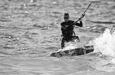 Kite Surfing Black And White Poster