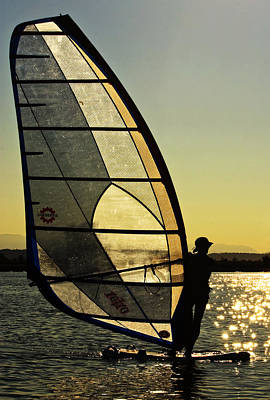 Poster featuring the photograph Kiteboarder Sunset by Sonya Lang