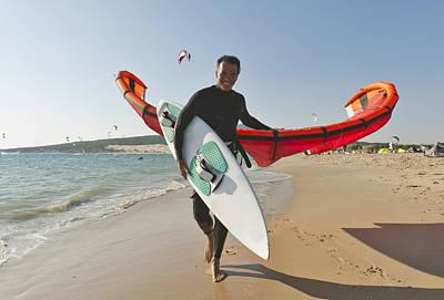 Kitesurfer On The Beach Tarifa Cadiz Poster