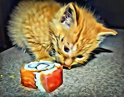 Kitten And His Sushi Poster by Patrick M Lynch