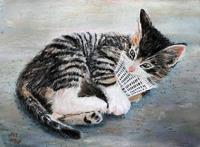 Kitten With Birdie Poster