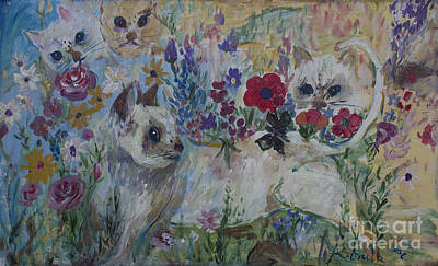 Kittens In Wildflowers Poster