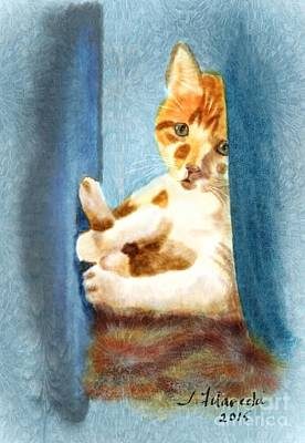 Kitty In A Corner Poster by Judy Filarecki