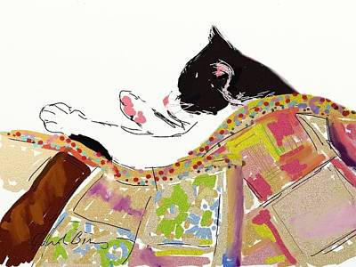 Kitty Sleeping Under Quilt Poster by Carol Berning