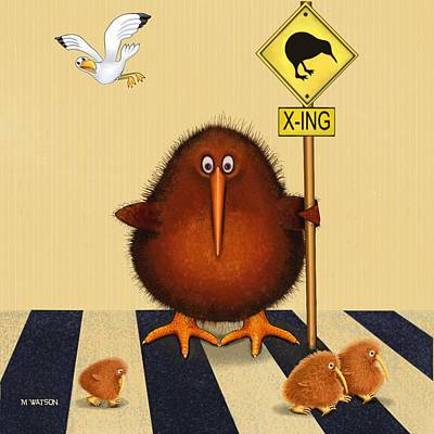 Kiwi Birds Crossing Poster