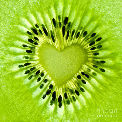 Kiwi Heart Poster by Delphimages Photo Creations