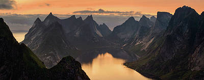 Kjerkfjorden Among Dramatic Mountain Poster