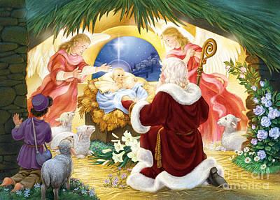 Kneeling Santa Nativity Poster