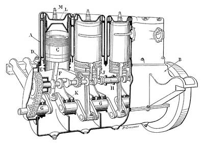 Knight Car Engine Poster by Science Photo Library