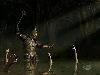 Knight In A Haunted Swamp Poster by Daniel Eskridge