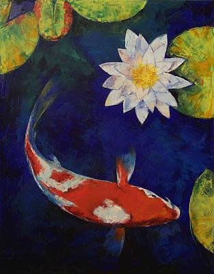Kohaku Koi And Water Lily Poster by Michael Creese