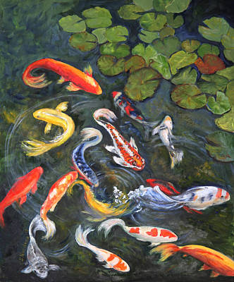 Poster featuring the painting Koi Among The Lily Pads by Sandra Nardone