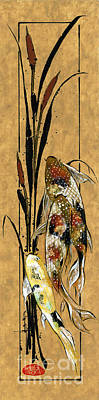 Koi And Cattails Poster