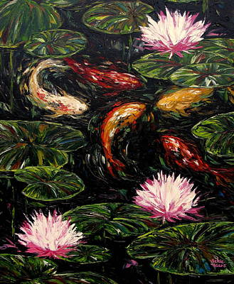Koi And Lotus Blossoms Poster by Vickie Fears
