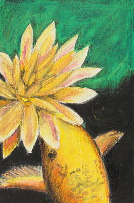 Poster featuring the painting Koi And The Lotus Flower by Jeanne Fischer