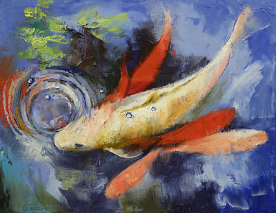 Koi And Water Ripples Poster by Michael Creese