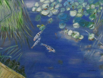 Poster featuring the painting Koi At Red Butte Gardens by Linda Feinberg
