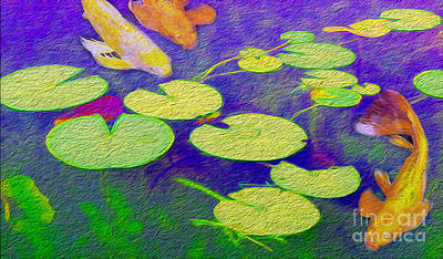 Koi Fish Under The Lilly Pads  Poster