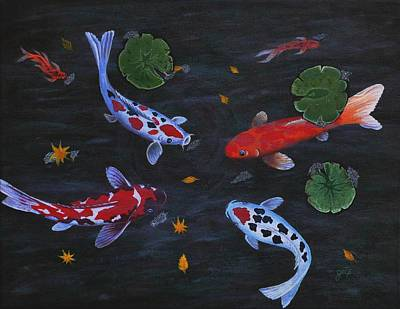 Poster featuring the painting Koi Fishes Original Acrylic Painting by Georgeta  Blanaru