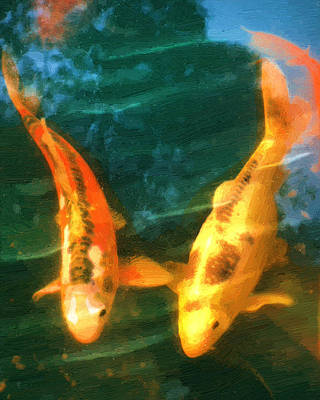 Poster featuring the painting Koi Friends by Doug Kreuger