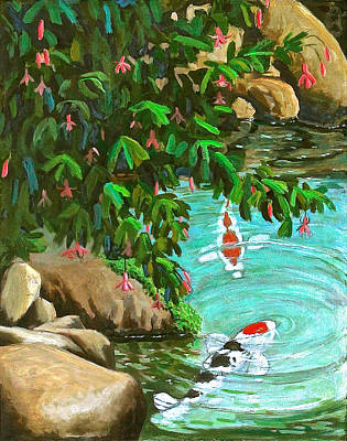 Poster featuring the painting Koi Kingdom by Dan Redmon